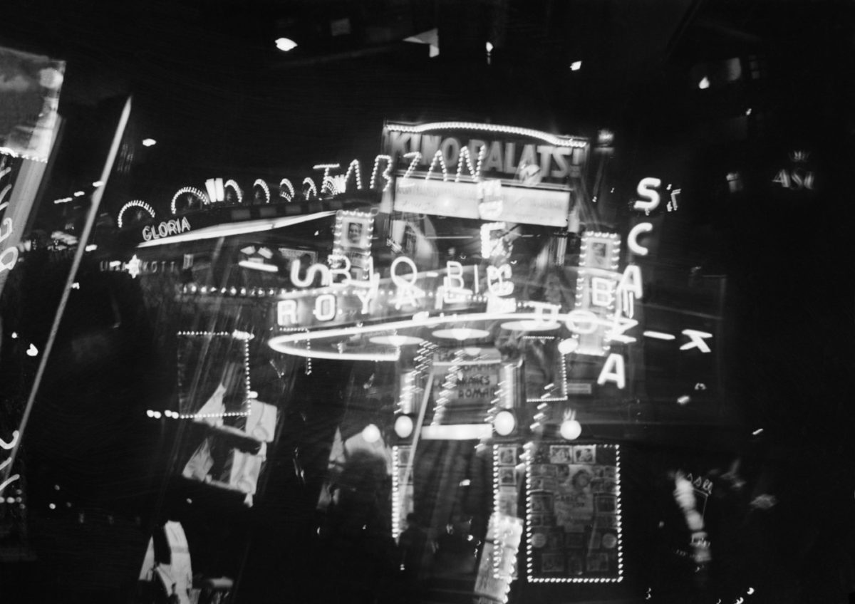 A photograph montage of the neon signs of cinemas in Helsinki in September 1934. Photo: Aarne Pietinen Oy / Picture Collections of the Finnish Heritage Agency / Image editing: Keijo Laajisto